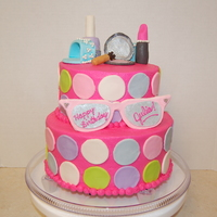Barbie Makeover Cake fondant covered and fondant accents