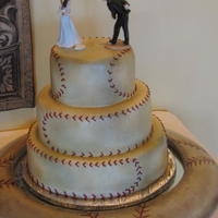 Baseball Bride And Groom   Tiered Groom's cake airbrushed to look like a vintage baseball