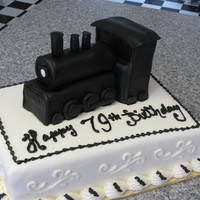 Train Cake   9x13 cake with fondant covered Rice Krispie treat Train
