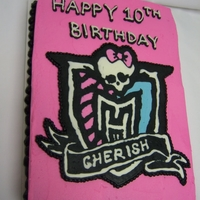 Monster High Birthday Cake Logo made with the butter cream transfer technique.