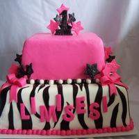 "Hot Pink Zebra Stripes Covered and decorated with marshmallow fondant and gum paste. I also made a small 4"" smash cake for the birthday girl www...."