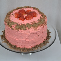 "My Super Awesome Chocolate Strawberry Cake With Heavy Whipped Cream Frosting And Filling This is a 3 layer, 8"" chocolate cake. I made this from scratch with real butter and fresh strawberries. I made heavy whipped cream for..."