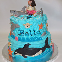 Marine Biologist Cake A birthday cake I made for an 8 year old girl who wants to be a marine biologist. I put all of her favorite sea creatures on the cake;...