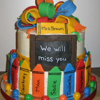 Teacher Retirement Cake This cake was inspired by Candoo. My cousin sent me a link of her cake from pinterest. Ironically the teacher's name was Mrs. Brown...
