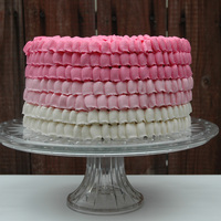 Pink Ombre Ruffle Cake Birthday cake I made for a little girl's spa theme birthday. Ruffles are made with buttercream.