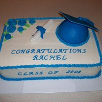 Blue And White Graduation Cap Cake blue and white graduation cap cake. the cap is a half ball pan. The tassel is MMF, as well as the diploma..