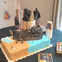 "Pirate Ship Cake This is a cake I made for my daughter's 3rd birthday. She wanted a Jack Sparrow cake. I decided to make the ""Black Pearl""..."