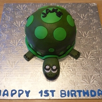 "Turtle Cakes Did 2 turtle cakes for two cousins first Birthdays. Used 6"" pan and ball pan. Iced in butter cream. Head, legs, tail and spots in..."