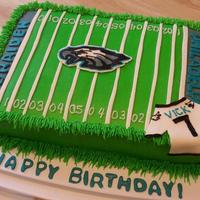 Philadelphia Eagles Made this cake for my nephews 11th Birthday. He's a huge Philadelphia Eagles fan. The logo is a buttercream transfer, mmf letters...