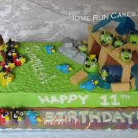 "Angry Birds! A playable Angry Birds cake. All the figures are made from gumpaste. The ""glass"" is isomalt."