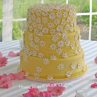 Yellow And Pink Spring Daisies Wedding Cake