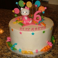 Hello Kitty Non crusting buttercream with fondant decorations. Fondant Hello Kitty.