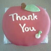 "Thank You Cake  I made this cake as a thank you to my son's teacher. It's a 6"" round cake cut into the shape of an apple. It is covered with..."