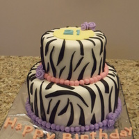 Zebra Print 21St Birthday Cake Made this for a friend's niece's birthday. Was excited to make this cake. Inside is choc and vanilla zebra-marble cake. All MMF...