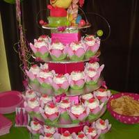 Birthday Cupcakes! A 1st Birthday cupcake display done for my baby granddaughter who we nicknamed Lyla Bug since she was born! Topper: Bug made w/ rice...