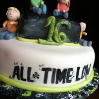 All Time Low Sweet 16   Bday girls favorite band is All Time Low.. little gumpaste figures are the band members. Hand painted the logo on the MMF.