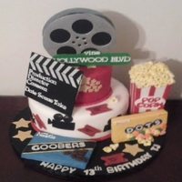 Movie Night   Thanks for all the inspiration here on cc. popcorns molded out of fondant with RKT box , RKT goobers and dots
