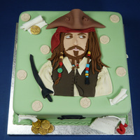 Chocolate Cake With Chocolate Buttercream Filling Covered In Sugarpaste This Birthday Cake Was For A Boy Whos A Big Fan Of Captain Jack Sp... Chocolate cake with chocolate buttercream filling covered in sugarpaste. This birthday cake was for a boy who's a big fan of Captain...