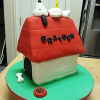 Snoopy Baby Shower Cake This is a baby shower cake I did for the wife of one of my husband's coworkers. It's a strawberry cake covered in fondant. All...