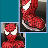 Braxie's Spiderman 3D black spiderman bust cake made for my son's 5 years old birthday.