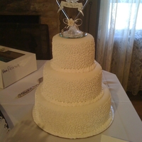 "1St Wedding Cake! vanilla cake, vanilla buttercream, fondant covered with scrollwork piped in royal icing. 12"", 9"", 6"""