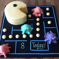 Pac Man Cake For my son's 8th birthday!