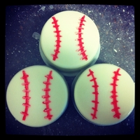 "Oreo Baseballs White chocolate dipped oreos with stitching drawn on with edible marker...for a team of 5 yr olds who sound like they're saying ""..."