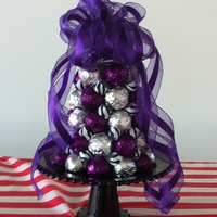Purple/silver Cake Ball Tree This was another tree made for a school dessert auction. Purple wrapped cake balls are chocolate & silver wrapped cake balls are...