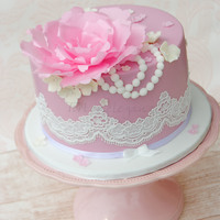 Vintage Cake With Lace And Wafer Paper Flower Complete Edible, with Wafer Paper Flower and Cake Lace