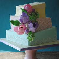 Pastell Wonkey Wedding Cake With Gumpaste Tulips & Hydrangeas