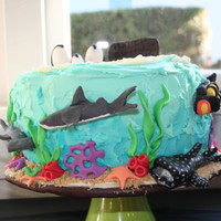 "Sea Creatures Our little 4 year old wanted a ""Sea Creature cake"". 3 layer cake alternating vanilla and chocolate. Buttercream icing, fondant..."