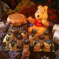 Pooh The Pooh is made of rice Krispie treats and the honey pot is cake.