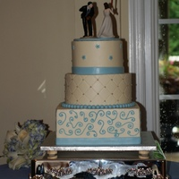 Blue Baseball Cake was composed of elements from the bride's dress and various cakes she liked. Iced in buttercream. TFL