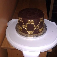 Birthday Cake Frosting chocolate with candy melt logo dusted with gold dust