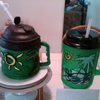 Green Mug Pound Cake covered in fondant to match friends Green Mug. The cake is the one collapsing. LOL!