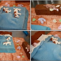 Sleeping Dogs & Naughty Dog Pond Cake covered in fondant. Based on true story of a Friends new dog climbing her dresser and eating her underwear.