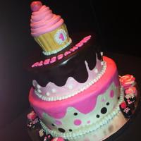 Neapolitan Candy Cake *Buttercream with fondant accents. Cupcake is RKT