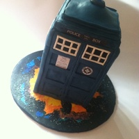 Tardis Cake. Dr Who I made this by following a great tutorial by the Artisan Cake Company. I used 3 - 6 inch cakes torted and filled.