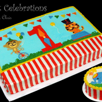 Circus Themed Cake Made To Match The Party Decorations Done All In Buttercream Icing Circus themed cake made to match the party decorations. Done all in buttercream icing.