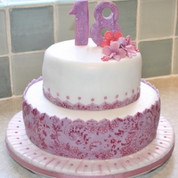 18Th Birthday..... by using a chocolate transfer sheet onto icing i managed to create this lovely pattern!