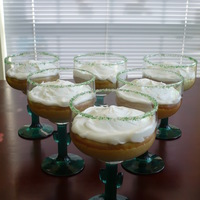 Margarita Cupcakes Margarita cupcakes baked in margarita glasses and iced with poured icing and glass rims dipped in green sparkling sugars. TFL!