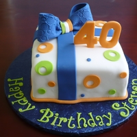 "40Th Birthday Cake My son's only request for his birthday cake was ""no black"" so I went with navy blue, orange and lime green. Cake is french..."