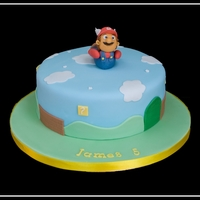 "Mario Bros Themed Bithday Cake 8"" chocolate cake with a handmade Mario topper"