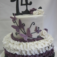 "Ruffle Cake With Butterflies 7"" and 10"" cakes with ruffled rose petals and patchwork cutter butterflies"