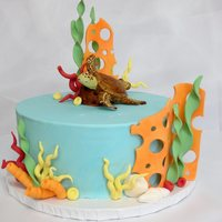 Ocean Theme Cake Ocean them cake I did for fun to get some practice in.