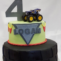 Monster Truck Cake for a friend, top tier off set to put another truck. My friend showed me a picture of this cake i wish I knew who the cake decorator...