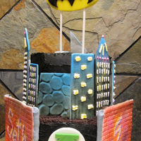 Superhero City City scape for a super hero birthday party.