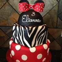 Minni Mouse Birthday My sweet niece wanted a Minnie Mouse themed party but needed many servings so I created a three tier cake that matched her personality! The...