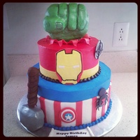 Super Hero Cake  This cake was done with BC with Fondant accents. The hand and hammer were carved out of rice crispy treats. I really enjoyed doing this...