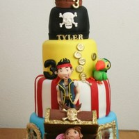 Jake The Pirate   Jake the Pirate cake for Tyler. All figurines are made by hand out of fondant.
